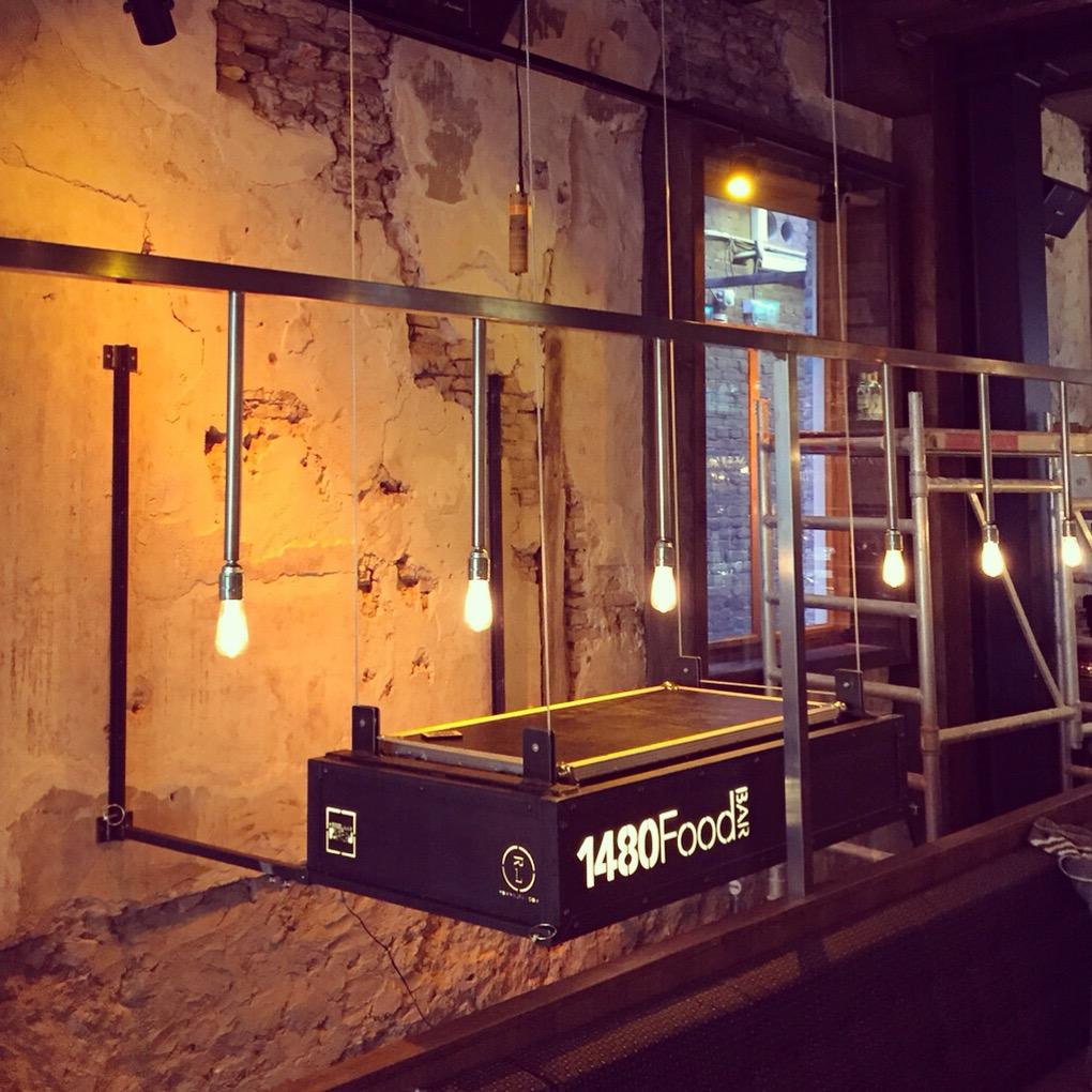 dj booth 1480food 1480 maatwerk dj horeca music weekend steel wood floating Alkmaar Amsterdam pioneer
